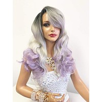 """Gray purple ombre Lace Front Wig 14"""" with deep side parting 619"""