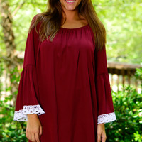Lucky In Lace Dress, Burgundy/White