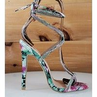 "Seren Multi Snake Tie Up Strappy Rhinestone Stiletto - 4.5"" High Heel Shoes"