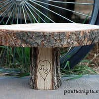"""18"""" Rustic Wood Tree Slice Cake Pedestal for your Wedding, Valentine's Day, or Party"""