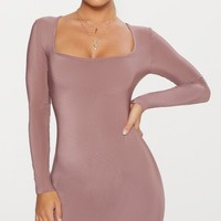 Dark Mauve Second Skin Slinky Square Neck Bodycon Dress