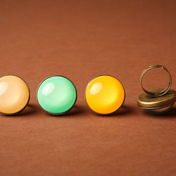 Solid Colored Statement Ring in Antique Bronze- Pick Your Color