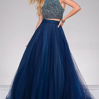 Navy Two Piece Beaded Prom Dress 49422