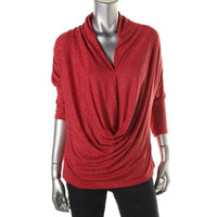 ECI New York Womens Shimmer Dolman Sleeves Blouse