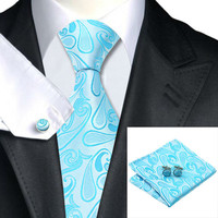 Special Offer Men`s Tie Blue Novelty 100% Silk Tie+Hanky+Cufflinks Sets For Wedding Party Business