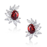 Red Oval and Clear Marquise Cubic Zirconia Stud Earrings