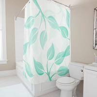 """Shower Curtain - 'Leaves in Mint on White' - 71"""" by 74"""" Home, Decor, Bathroom, Boho, Dorm, Girl, Christmas, Gift, Leaves, Abstract,Nature"""