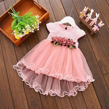 Cute Newborn Baby Girl Princess Weddings Lace Tulle Dress Tutu Floral Outfits