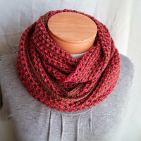 Men's crochet scarf Unisex cowl wrap Chocolate brown  Coral light cherry red Maraschino  wool blend