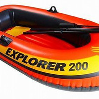 Explorer 200 Inflatable Two Person Inflatable Raft Boat Set 2 Oars Orange