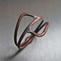 Unisex Geometric Copper Ring // Handmade Artisan Designed Recycled Electrical Wire Copper Ring // Upcycled Copper Ring