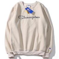 Champion 2018 autumn men and women lovers letter embroidered loose sports round neck sweater Khaki