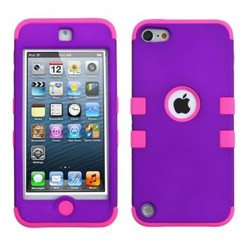 Thousand Eight(TM) iPod touch 5 (5th generation) Hard Plastic Dual Layer Tough Shield Heavy Duty Protective Case + [FREE Touch Screen Stylus] (TUFF case Rubberized Grape/Electric Pink)