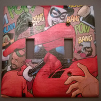 Harley Quinn Comic Book light switch cover