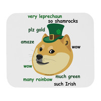 St Patricks Day Leprechaun Doge Mousepad