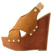 Tan Crisscrossed Slingback Platform Wedges by Charlotte Russe