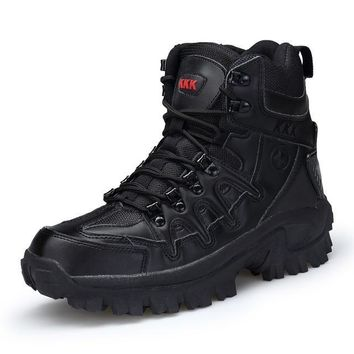 Winter/Autumn Men Military Leather Special Force Tactical Desert Combat Outdoor Shoes Snow Boots