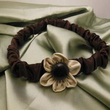 Brown Tan Cute Girly Hippie Boho Floral Flower Ribbon Fabric Elastic Children Girl Teen Adult Headband