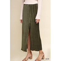 Ribbed Velvet Maxi Skirt