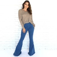 Horizon Bell Bottom High Waist Blue Denim Pants