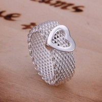 DUMAN Silver Plated Ring Nickel Free Fashion Jewelry Grid Heart Ring Valentine's day, Christmas Gifts Size 8