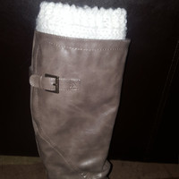 Knitted White Boot Cuffs