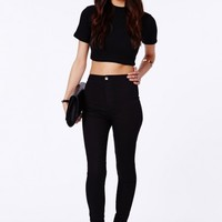Missguided - Brigitte Disco Fit Skinny Jeans In Matte Black