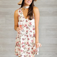 * Maja Sleeves Floral Dress With Choker Neckline- Cream