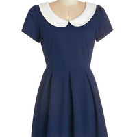 ModCloth Vintage Inspired Short Length Short Sleeves A-line Record Time Dress in Navy