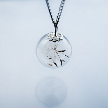 Mini Dandelion Necklace Petite Dandelion Seeds MakeA Wish Small Glass Bead Orb Silver Necklace Botanical  Globe Beadwork