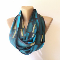 trendy infinity loop scarf , fashion accessories  , NEW women scarves, green , blue - aqua, yellow green , gray , colorful summer accessory