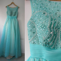 Beading Prom Dress with Crystal Chiffon Prom Dress Long Homecoming Dress