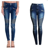 2077 Women`s Fashion Punk Motorcyle Patchwork Stretch Slim Fit Ripped Denim Pants Skinny Jeans Woman High Waist Jeans Femme-1
