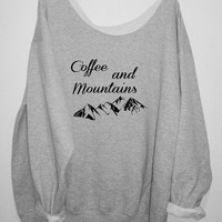 COFFEE and MOUNTAINS  sweater, Over sized, street style slouchy, loose fitting, graphic tee, mizzombie grunge