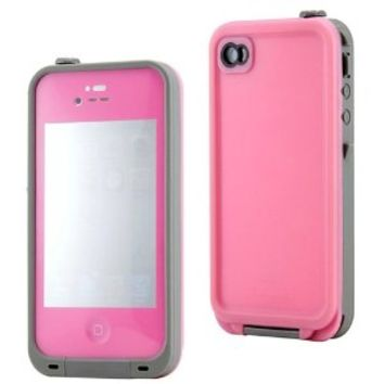GEARONIC Pink Waterproof Shockproof Full Body Skin Case Cover Pouch for iPhone 4 4S 4G, Multi Purpose Protective Skin for water, shock, snow, dirt