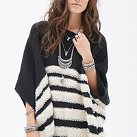FOREVER 21 Loop-Knit Striped Poncho Black/Cream