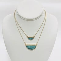 Table Stone Turquoise Layered Necklace in Gold