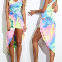 Multicolor Colorful Rainbow Tie Dye Twist Front Pleated Irregular Bodycon Cut Out High-Low Midi Dress