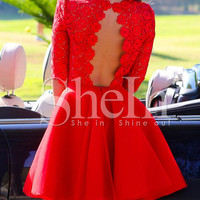 Red Ruby Half Sleeve Backless Scallop With Lace FLare Dress -SheIn(Sheinside)