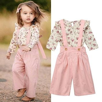 Girls Fall Jumpsuit with Floral Ruffle Top Overalls Pink