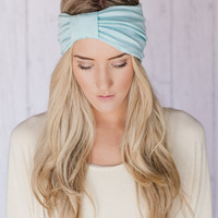 Mint Wide Headband the Sparrow Headband Wide Stretchy Jersey Hair Band Ruched with Fabric Wrap in Minty Green