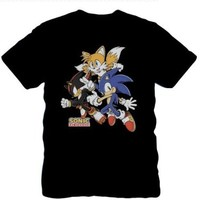 Sonic The Hedgehog Group Characters Black Men's T-shirt (M)