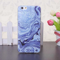 2016  Phone Cases For iPhone 6 6s 6Plus 6sPlus Luxury blue Marble Stone Image Painted Soft TPU Cover Protective shell Capa