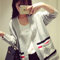 Spring new retro temperament was thin knit cardigan