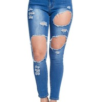 Women's High-Rise Holey Ripped Skinny Jeans