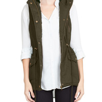 LE3NO Womens Anorak Faux Fur Lined Military Vest with Hoodie
