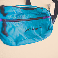 Vintage 80's Eddie Bauer Turquoise Teal Fanny Pack Nylon with Zipper and Pocket Hipster Fannie Pack Bum Bag Rave Festival Wear Club Kid