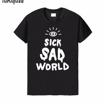 Sick Sad World Letters Print Women t shirt Cotton Casual Funny tshirts For Lady Top Tee Hipster Harajuku Women Summer Tops