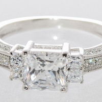 Cubic Zirconia Ring Sterling Silver Three Stone Clear