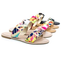 Coastline05s By Bamboo, Women's Slip On Dual Strap Flat Sandal, Classic Floral Print Slide